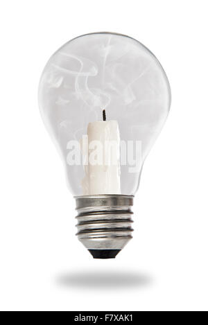 Unlit candle smoldering inside a tungsten bulb type - Stock Photo