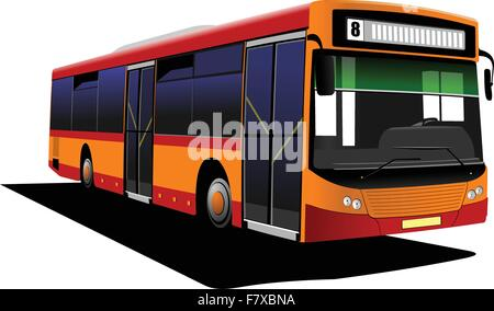 Red orange city bus. Vector illustration - Stock Photo