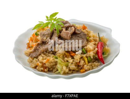 Fried rice with beef - asian food - Stock Photo