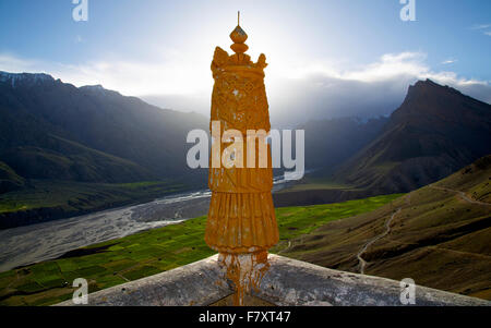 View from top of Key Monastery in Spiti - Stock Photo