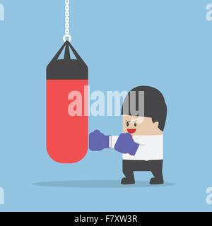 Businessman wearing boxing gloves and punch the punching bag, VECTOR, EPS10 - Stock Photo