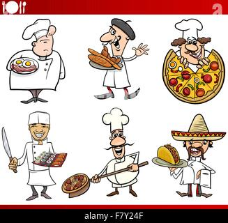 international cuisine chefs cartoons - Stock Photo