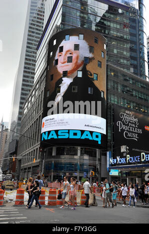 Gilbert Stuart paining of George Washington appears on digital billboard at New York's Times Square during the Art - Stock Photo