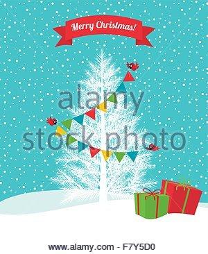 Birds decorate a Christmas tree - Stock Photo