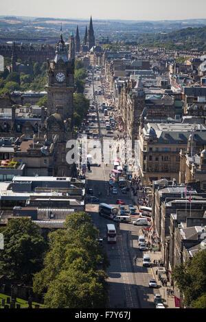 Summer on Princes Street from Calton Hill Edinburgh, Scotland. - Stock Photo