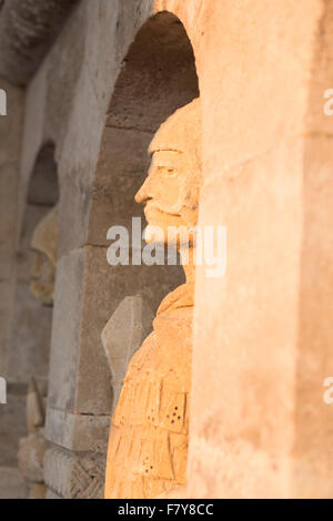 Hungary, Budapest, sculpture detail on the Fisherman's Bastion. - Stock Photo
