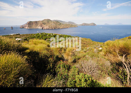 Lipari island seen from Vulcanello, Vulcano, Aeolian Islands, Sicily, Italy - Stock Photo