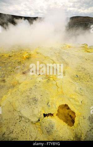 Sulfurous fumaroles in the crater of Vulcano, Aeolian Islands, Sicily, Italy - Stock Photo