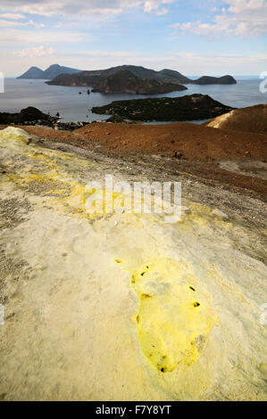 Vulcanello, Lipari and Salina seen from the active crater of Vulcano (Gran Cratere), Aeolian Islands, Sicily, Italy - Stock Photo