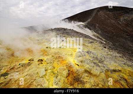 Fumaroles and sulfur in the active crater (Gran Cratere) of Vulcano, Aeolian Islands, Sicily, Italy - Stock Photo