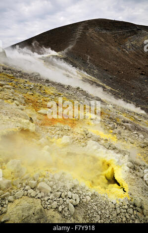 Sulfuric fumaroles in the active crater (Gran Cratere) of Vulcano, Aeolian Islands, Sicily, Italy - Stock Photo