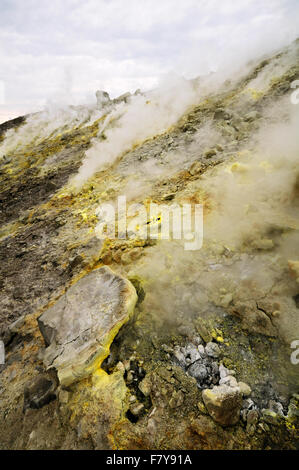 Sulfurous gas in the crater (Gran Cratere) of Vulcano, Aeolian Islands, Sicily, Italy - Stock Photo