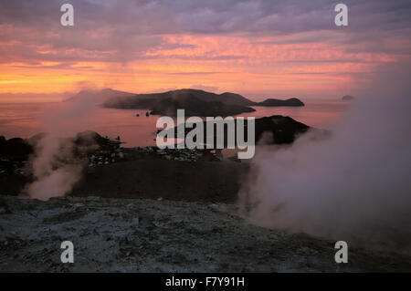 Vulcanello, Lipari and Salina seen from the active crater of Vulcano (Gran Cratere) at sunset, Aeolian Islands, - Stock Photo