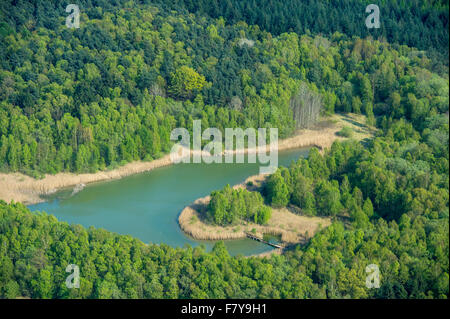 small sedimentation pond at dammer bergsee near damme (dümmer) from above, vechta district, niedersachsen, germany - Stock Photo