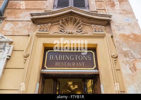 Sign for Babingtons Restaurant, or Babington's Tea Rooms, at the Spanish Steps, Rome, Italy, a popular tourist destination - Stock Photo