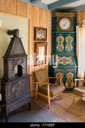 Elegant scandinavian interior decorated with antique furniture at the Kongsvold Hotel in Oppland central Norway - Stock Photo
