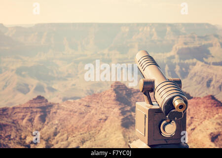 Retro toned telescope pointed at Grand Canyon, travel concept, USA. - Stock Photo