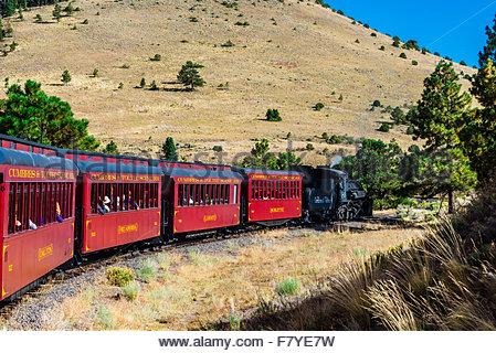 Cumbres & Toltec Scenic Railroad train on the 64 mile run between Chama, New Mexico and Antonito, Colorado.The railroad - Stock Photo