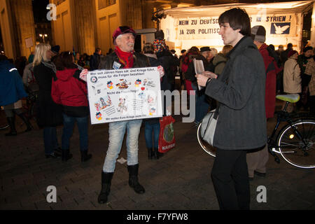 Berlin, Germany. 3rd December, 2015. Demonstration against German military intervention in Syria. - Stock Photo