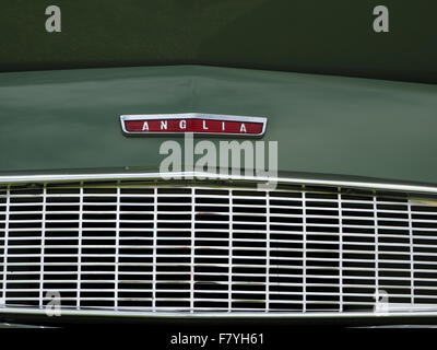 Detail Of Bonnet Badge On Green Morris 8 Classic Vintage