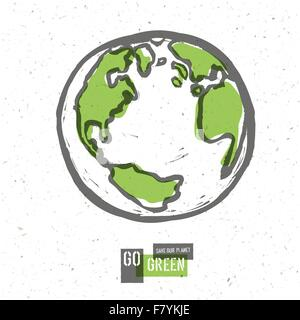 Go Green Concept Poster With Earth. Vector - Stock Photo