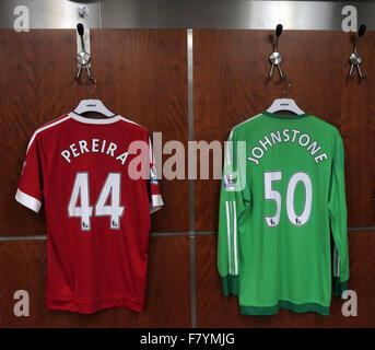 Pereira & Johnstone players shirts,in MUFC dressing room, Old Trafford, Manchester, England - Stock Photo