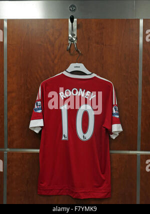 Wayne Rooney shirt in MUFC dressing room, on official Manchester United hook, Old Trafford, - Stock Photo