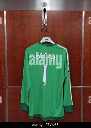 David De Gea green shirt in MUFC dressing room, Old Trafford - Stock Photo