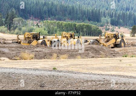 Worley, Idaho - September 15: Heavy equipment being used to upgrade highway 95 thru Worley, September 15 2015 in - Stock Photo