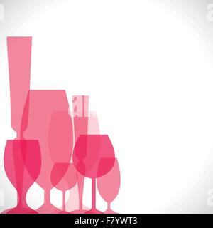 wine glass pink background - Stock Photo