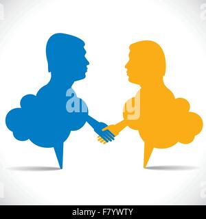 people like message bubble hand shake - Stock Photo