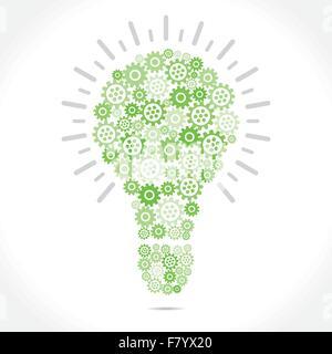 green gear make bulb shape - Stock Photo