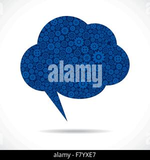 cloud message bubble design with gear stock vector - Stock Photo
