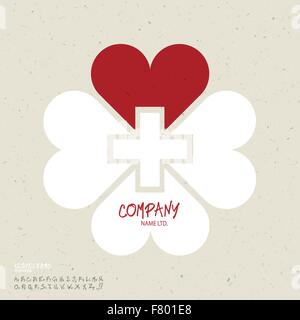 Medicine abstract logo vector design template. Clover leaf shape - Stock Photo