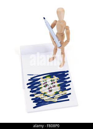 Wooden mannequin made a drawing of a flag - Connecticut - Stock Photo