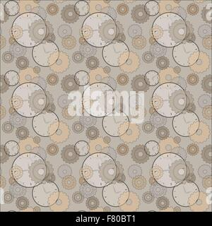 seamless pattern with clocks and cog wheels - Stock Photo