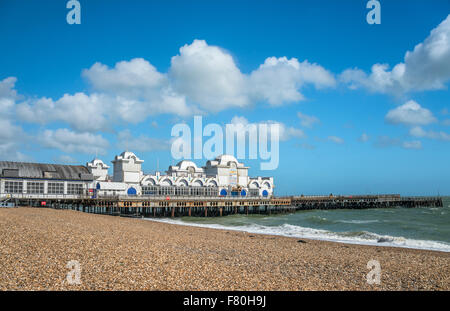 Historical South Parade Pier, Portsmouth, Hampshire, England, United Kingdom - Stock Photo