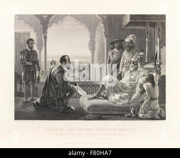 'Vasco da Gama and the Zamorin of Calicut – Opening up of direct European trade with India.' The Portuguese explorer - Stock Photo