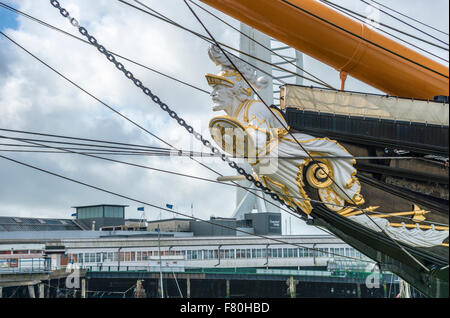 Figurehead of HMS Warrior was the Royal Navy's first ironclad ocean-going armored battleship, and was launched in - Stock Photo