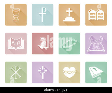 A Set Of Christian Icons And Symbols Including Chi Rho Alpha Omega