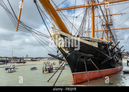 HMS Warrior at Portsmouth Historic Dockyard, England, UK. It was the Royal Navy's first ironclad ocean-going armored - Stock Photo