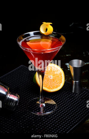 cosmopolitan with shaker and lime - Stock Photo