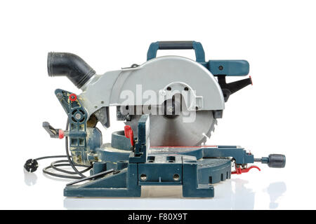 Mitre saw side view isolated on white - Stock Photo