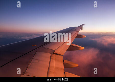 View from an airplane window, somewhere near Santiago, Chile. - Stock Photo