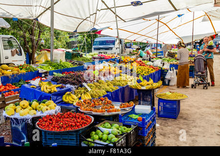 Fruit and Vegetables For Sale At The Monday Market In Turunc near Marmaris, Mugla Province, Turkey - Stock Photo