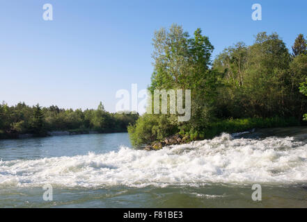 Loisach-Isar-Canal at the mouth to the river Isar, Wolfratshausen, Upper Bavaria, Bavaria, Germany - Stock Photo
