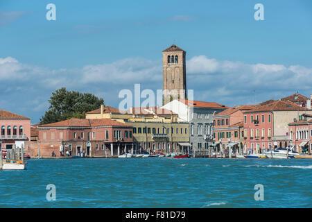 View of Murano Island with steeple Sante Maria e Donato, entrance to Canale S.Giovanni, Venice, Veneto, Italy - Stock Photo