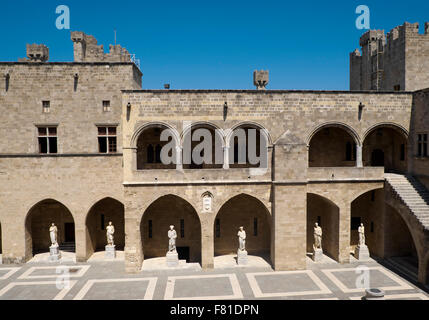 Grand Masters Palace, courtyard, Rhodes Town, Rhodes, Dodecanese, Greece - Stock Photo