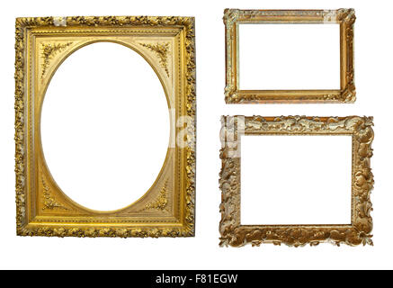 Set Of Decorative Frame Picture With Gold Border Vector Design On