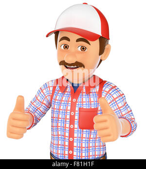 3d working people. Handyman with two thumbs up. Isolated white background. - Stock Photo